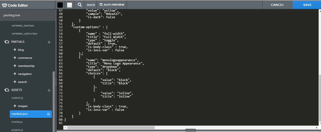 Manifest.json code: Add Custom option in weebly theme