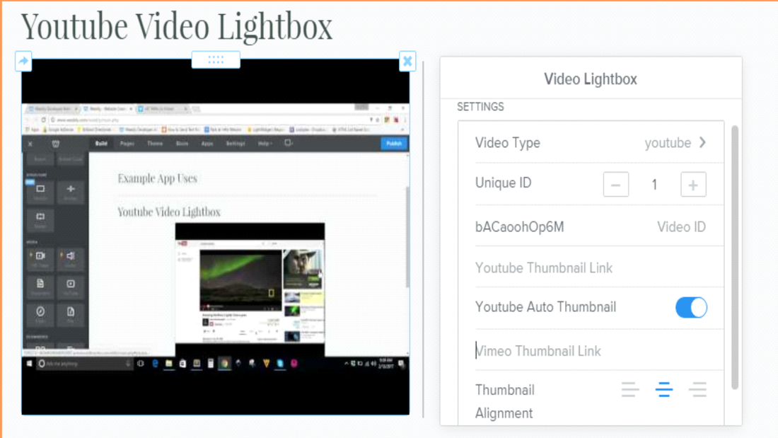 show youtube vimeo videos in lightbox weebly website