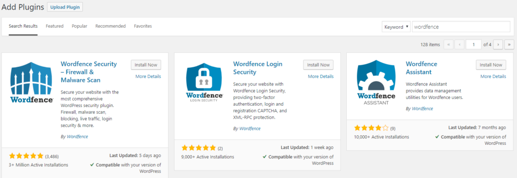 Plugin Installation - Recommended Wordfence Settings
